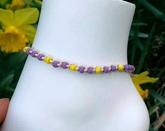 Anklet in Lilac and Yellow Crochet Cotton Ties On Adjustable Length and Size Options