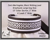 Jan's Martingales, Black Walking Lead, Collar and Lead Combination, Greyhound, Large Dog Size, Blk232