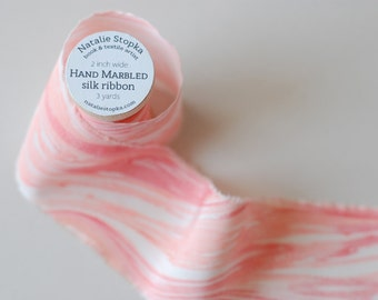 Marbled Silk Ribbon in Zinnia Pink