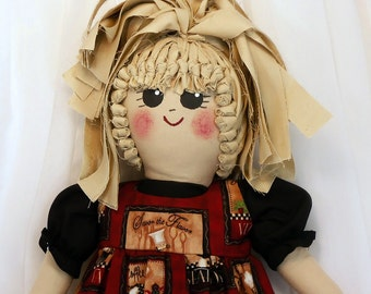 Plastic Bag Holder Doll - Chef Print, Recycle, Grocery Bags, Kitchen Storage, Grocery Bag Holder, Rustic Kitchen Doll, Cooking Design