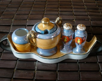 vintage japanese lusterware salt pepper condiment set
