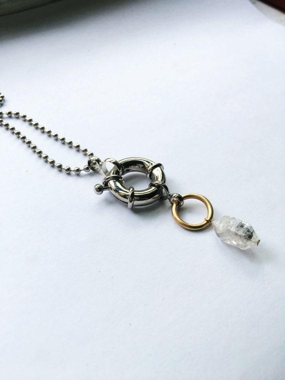 Herkimer diamond mixed metal sculptural choker