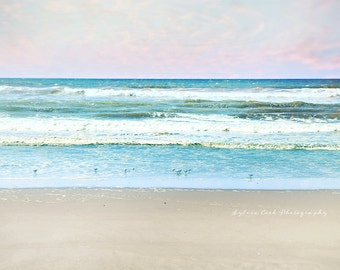 Pastel ocean photography,Beach home decor,seashore,summer decor,birds,turquoise,pink,sky,clouds,calming,dreamy beach photo