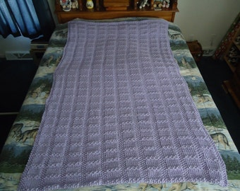 Lilac Hand Knitted Lattice Afghan,  Blanket, Throw, - Home Decor