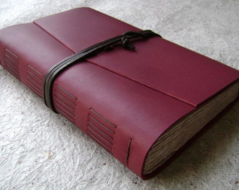 """Handmade Leather Journal, 6""""x 9"""", 312 pages, country red, rustic handmade journal (2112)"""