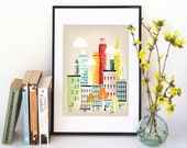 New York City Print Skyline, Wall Art Prints Paper Poster, Cityscape Illustration, Decor Home, Office and Nursery Art, Gift, SPPNYM1