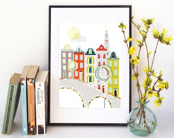 Amsterdam Travel Art Print, Skyline Cityscape, illustration, Dutch Architecture Houses, Canal Houses, Paper Print for Home SPPAT1