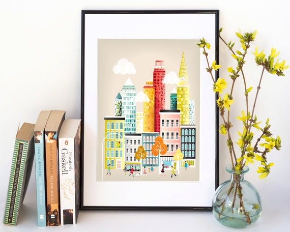 New York Art Print Skyline, Wall Art Prints Paper Poster, Cityscape Illustration, Decor Home, Office and Nursery Art, Gift, SPPNYM1
