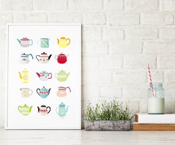 Teapots Art Print, Kitchen Wall Art, Kitchen Teapots, Teapot illustration, children's, vintage retro, kitchen art, Gift for, Style: SPPTP1