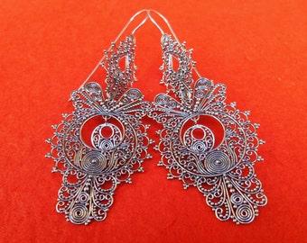 Large Sterling Silver Traditional Dangle Earrings / silver 925 / Bali handmade earrings / 3.25 inches long