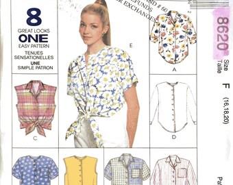 McCalls 8620 Sewing Pattern, 16, 18, 20, Ladies Blouses,
