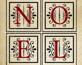 NOEL - Christmas Sign / Holiday / Old Fashioned -  8x10 Inch Digital Print / Printable Instant Download and Print / Digital Sheet