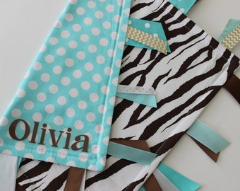 Free Shipping!  READY TO SHIP, taggie, blanket, personalized, baby, girl, gift, turquoise, brown, zebra, minky, ribbon, tag