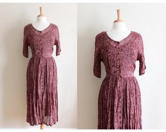 Vintage 1990s Starina Burgundy Chiffon Shirtwaist Dress