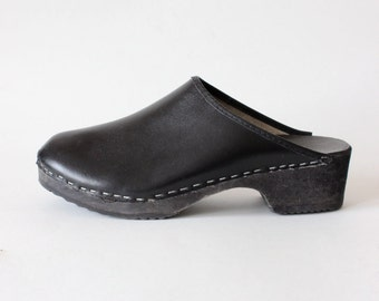 Vintage Black Leather & Wood Swedish Clogs, size 40