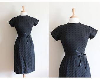 1950s Dress / Vintage Black Cotton Eyelet Dress