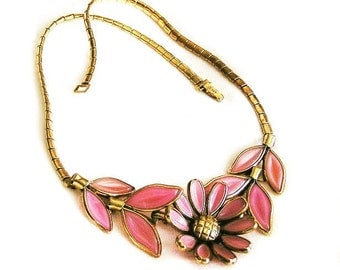Trifari Pink Molded Glass Flower Necklace, Trifari Signed Necklace