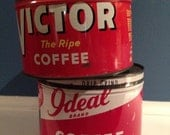 Vintage Victor and Ideal Coffee Cans - Lot of Two