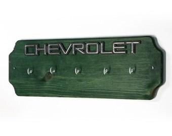 Chevrolet Key Holder - Chevy Emblem Green Wood Key Hook - Wall Key Hanger - Father's Day Gift