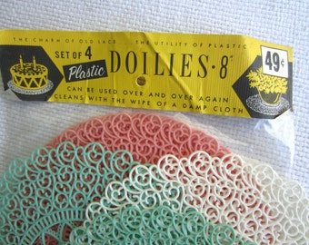 Vintage Plastic Doily Package Pink Green White set of 8