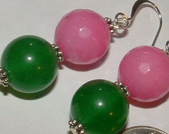 my own design-pink green jade 11mm beads icy cold- dyed for inhancement- stunning color