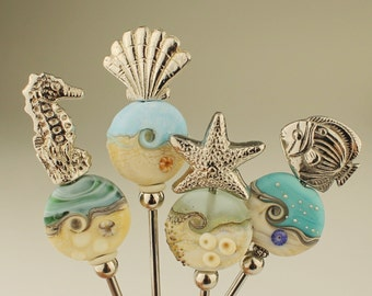 Appetizer Forks with Lampwork Glass Bead, Organic Focal Blue, Ocean, Beach, Starfish, Seahorse, Scallop Shell, Fish