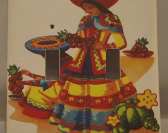 Mexican senorita double switch plate cover - free shipping - 1006SW