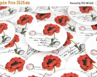 ON SALE Stickers Envelope Seals Red Poppy SES75