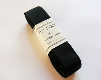 Vintage 1950's French Woven Ribbon 15/16 Inch Jet Black