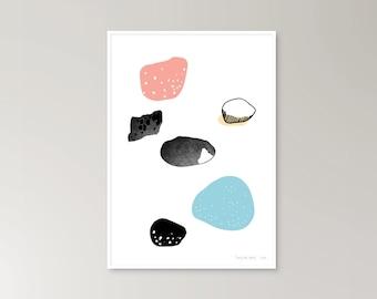 Rocks pebbles shapes illustration modern graphic colourful art print poster