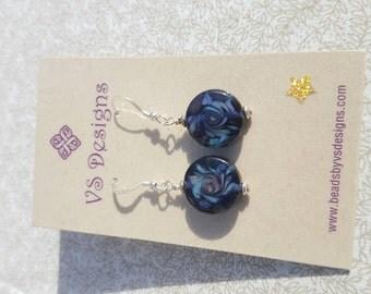 Inky blue swirled lampwork earrings.