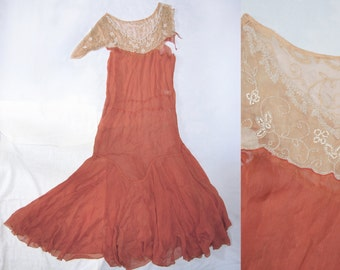 Vintage 20s Gatsby Silk Chiffon Maxi Gown Dress Beaded Damaged As Is Study Repurpose