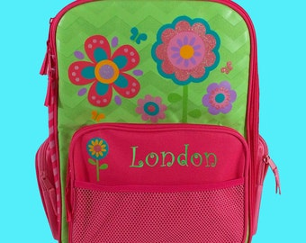 Personalized Stephen Joseph Rolling Luggage FLOWERS Themed for Children in Pink and Lime Green and Just a Touch of Sparkle