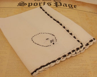 Vintage Hand Embroidered Napkin, Hand Crocheted Detailed Edge, Black and White Vintage Napkin, Vintage Linen, Display Linen, Embroidery