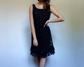 60s Lace Dress Vintage 1960s Women Black Sleeveless Ruffle Cocktail Party Dress - Medium to Large  M L