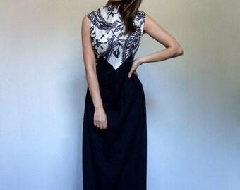 70s Black White Dress Long Summer Maxi Dress Vintage Metallic Maxi Dress - Large L