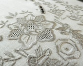 Exquisite vintage hand embroidery Madeira style table placemat, linen with grey cotton thread, natural ecru color  1960s  perfect condition