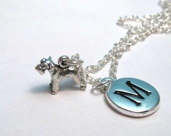 Itty Bitty Tiny Schnauzer Sterling Silver Charm, Schnauzer Necklace, Schnauzer Charm, Schnauzer Keychain, Personalized, Monogram Charm