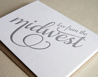 Letterpress Greeting card - Regional Love from the Midwest