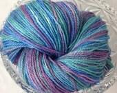 Suri Alpaca Yarn, Fingering 3 ply Yarn, Suri Alpaca/Polwarth/Silk 80/10/10, Hand Dyed Garden Party