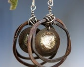 Mixed Metal Earrings, Melted Sterling Silver & Copper, Handcrafted Hoop Earrings, Ready to Ship