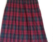 SALE red plaid pleated skirt schoolgirl boho bohemian punk tartan Koret wool size 12 80s 70s normcore
