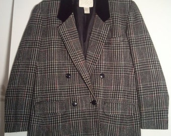 SALE Lord & Taylor plaid tweed houndstooth coat jacket double breasted 1980s 80s eighties size 10