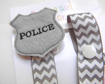 Police Badge Pacifier holder, Police pacifier clip, police baby gift, binky clip, binky holder, baby shower gift, paci clip, back the blue