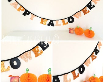 Handmade Halloween Garland in Orange, Black and Volcanoe Multi coloured Glitter. Happy Halloween Banner. Halloween holiday decoration.