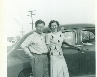 1940s Happy Couple Standing by Car Short Man Mom Dad 40s Vintage Black and White Photo Photograph