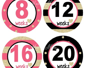 GIFT Pregnancy Belly Stickers, Weekly Pregnancy Stickers, Monthly Pregnancy Stickers, Baby Bump Stickers, Pink Gold Heart