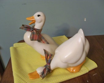 a pair of plaid ducks vintage ceramic