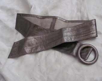 Vintage Ladies Bronze Metallic Leather Belt Small