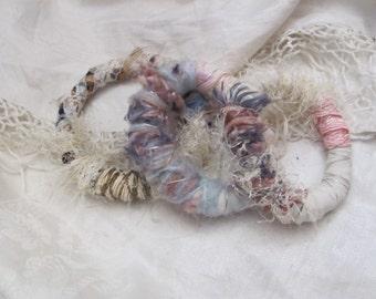 Gypsy Bracelets Set of 3 Beautiful Handmade OOAK Textile Fiber Art Recycled Materials